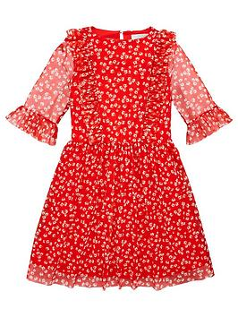 V by Very V By Very Girls Red Floral Mesh Dress - Multi Picture