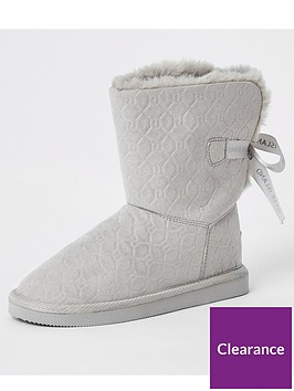 river-island-girls-embossed-monogram-faux-fur-boots--grey