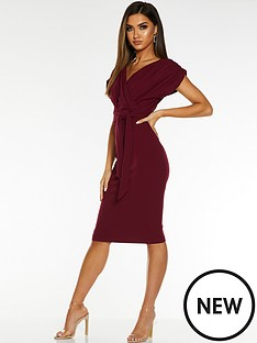 quiz-quiz-berry-wrap-batwing-ruched-sleeve-belt-midi-dress
