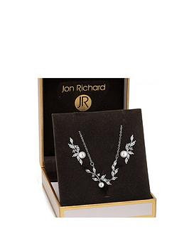 Jon Richard Jon Richard Jon Richard Cubic Zirconia Vine With Pearl Set Picture