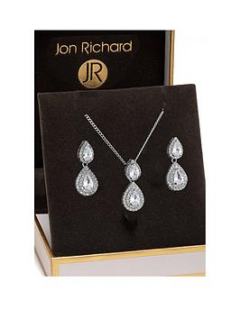 Jon Richard Jon Richard Jon Richard Double Pear Drop Pendant And Earring  ... Picture