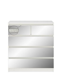 Very  Crystal Mirrored 2 + 3 Drawer Chest With Crystal Strip Detail