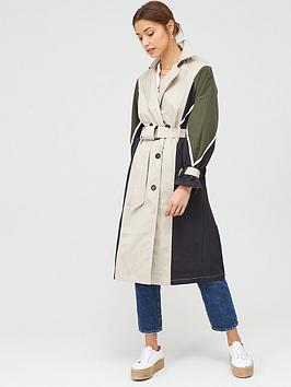 V by Very V By Very Colour Block Trench Coat - Stone Picture