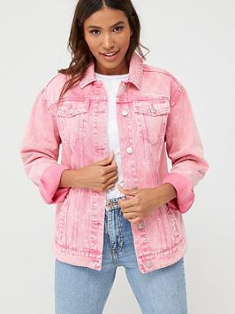 V by Very V By Very Wash Denim Jacket - Pink Picture