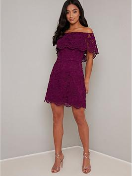 Chi Chi London Petite Chi Chi London Petite Eleya Dress - Berry Picture