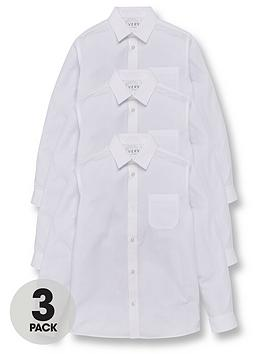 V by Very V By Very Boys 3 Pack Long Sleeve School Shirts Slim Fit Picture
