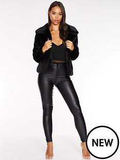 quiz-faux-fur-cropped-jacket-black