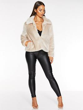 quiz-faux-fur-cropped-jacket-neutral