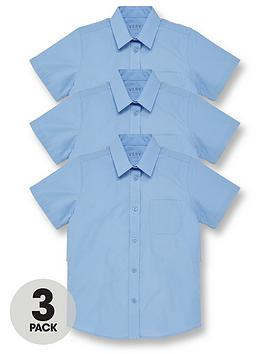V by Very V By Very Girls 3 Pack Short Sleeve School Blouses - Blue Picture