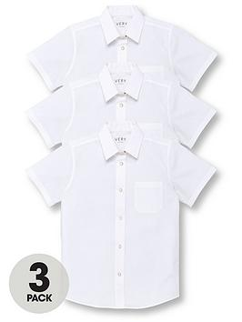 V by Very V By Very Girls 3 Pack Short Sleeve School Blouses - White Picture