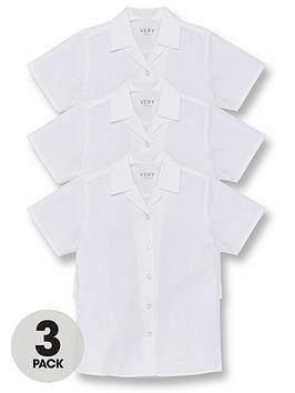 V by Very V By Very Girls 3 Pack Revere Short Sleeve School Blouse - White Picture
