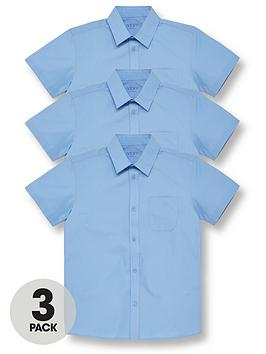 V by Very V By Very Boys 3 Pack Short Sleeved School Shirt - Blue Picture