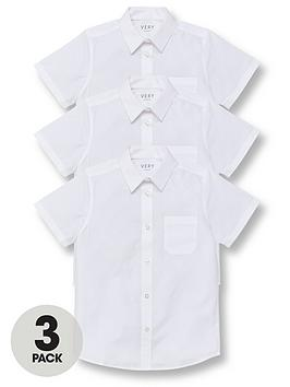 V by Very V By Very Boys 3 Pack Short Sleeved School Shirt - White Picture