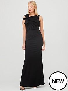 quiz-scuba-crepe-side-bow-fishtail-maxi-dress-black