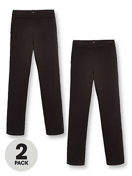 V by Very V By Very Girls 2 Pack Jersey School Trouser - Black Picture