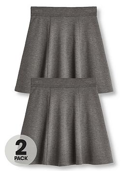 V by Very V By Very Girls 2 Pack Jersey School Skater Skirts - Grey Picture