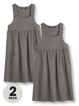 V by Very V By Very Girls 2 Pack Jersey School Pinafore - Grey Picture