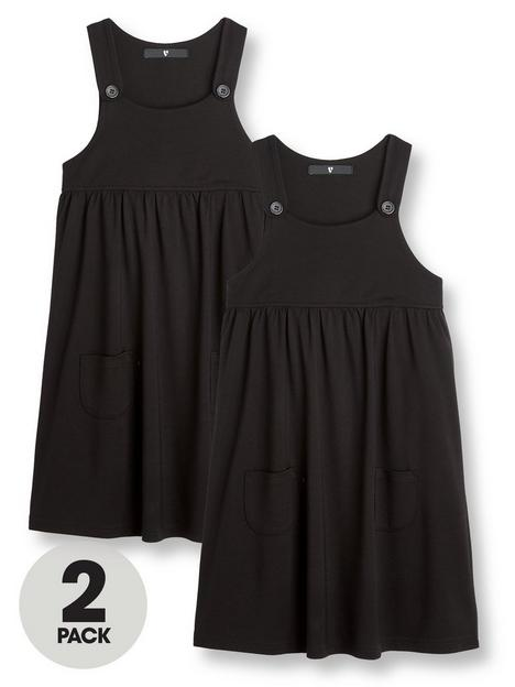 v-by-very-2-pack-girls-jersey-school-pinaforenbspdressesnbsp--black