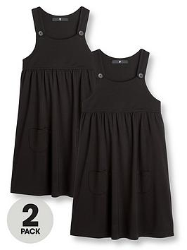 V by Very V By Very  2 Pack Girls Jersey School Pinafore - Black Picture