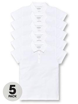 V by Very V By Very Girls 5 Pack School Polo Tops - White Picture