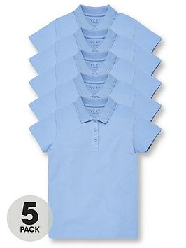 V by Very V By Very Girls 5 Pack School Polo Tops - Blue Picture