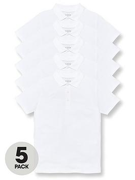 V by Very V By Very Boys 5 Pack Polo School Tops - White Picture