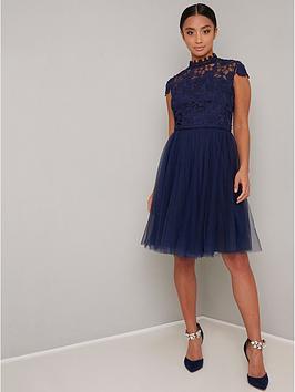 chi chi london Chi Chi London Petite Ailish Dress - Navy Picture