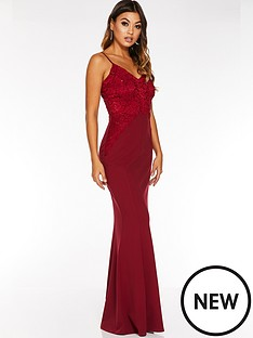 quiz-scuba-crepe-sequin-lace-strappy-maxi-dress-berry
