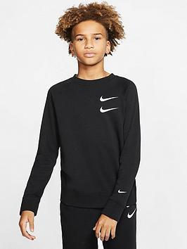 Nike Nike Nsw Older Boys Swoosh Crew Neck Sweater - Black Picture