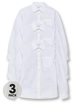 V by Very V By Very Boys 3 Pack Long Sleeved School Shirts - White Picture