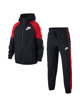 Nike Nike Sportswear Older Boys Woven Tracksuit - Black/Red Picture