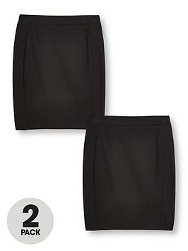 V by Very V By Very Girls Jersey School Tube Skirt (2 Pack) - Black Picture