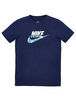 Nike Nike Sportswear Older Boys Futura Camo Logo T-Shirt - Navy Picture