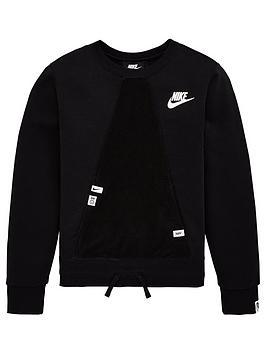 Nike Nike Sportswear Older Girls Heritage Crew Neck Sweat - Black Picture