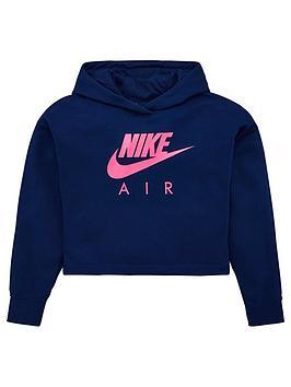 Nike Nike Sportswear Air Older Girls Overhead Cropped Hoodie - Navy Picture