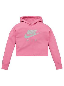Nike Nike Sportswear Air Older Girls Overhead Cropped Hoodie - Pink Picture