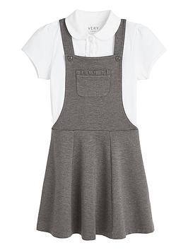 V by Very V By Very Girls School Jersey Polo And Pinafore Set - Grey Picture