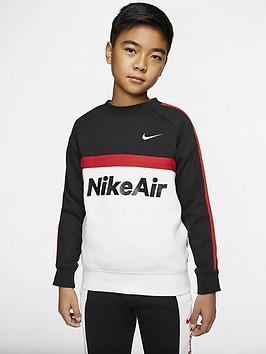 Nike Nike Sportswear Air Older Boys Crew Neck Sweat Top - Black/Red Picture