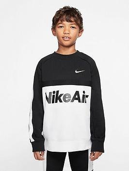 Nike Nike Sportswear Air Older Boys Crew Neck Sweat Top - Black/White Picture