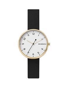 skagen-skagen-white-and-gold-case-dial-black-leather-strap-watch