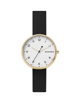 skagen Skagen White And Gold Case Dial Black Leather Strap Watch Picture