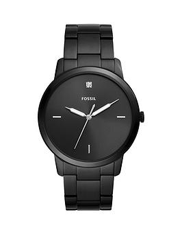 Fossil Fossil Fossil Black And Silver Detail Dial Black Ip Stainless Steel  ... Picture