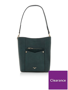 dune-london-dorgie-pocket-front-bucket-bag-green