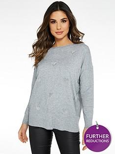 quiz-knitted-love-heart-diamonte-long-sleeve-jumper-grey