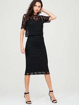 V by Very V By Very Lace Overlay Pencil Dress - Black Picture
