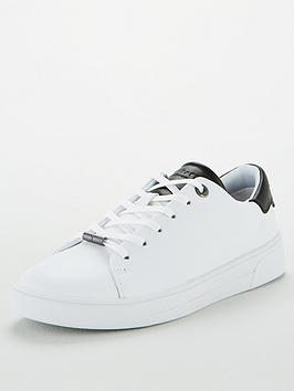 Ted Baker Ted Baker Zenib Leather Trainer With Black Tipping - White Picture