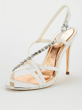 Ted Baker Ted Baker Theanai Satin Crystal Strappy Heeled Sandal - Ivory Picture