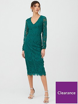 v-by-very-v-neck-lace-midi-green