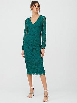 V by Very V By Very V-Neck Lace Midi - Green Picture