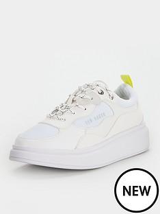 ted-baker-arellia-neon-strap-trainer-white